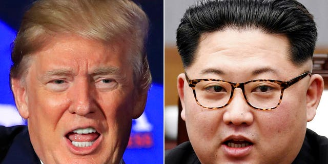 FILE - A combination of two file photos shows U.S. President Donald Trump, left, in Cleveland, Ohio, May 5, 2018, and North Korean leader Kim Jong Un, right, in Panmunjom, South Korea, April 27, 2018. The June 12 meeting between tough-talking President Donald Trump and North Korean leader Kim Jong Un, a brash young ruler with a nuclear arsenal, brings a bombastic set of personalities to the small island nation, which has hosted plenty of important meetings, but nothing as big as this. (AP Photo/Manuel Balce Ceneta, Korea Summit Press Pool via AP, File)