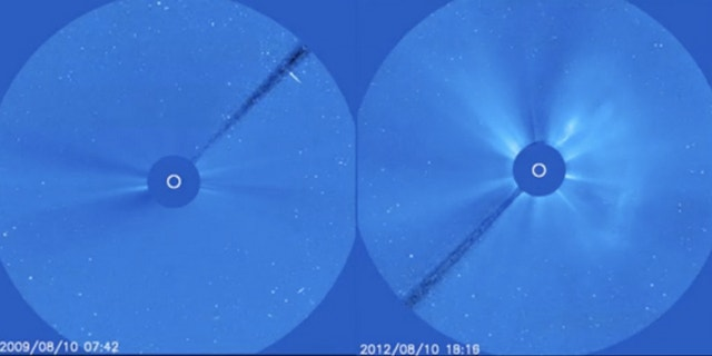 This screenshot from a video taken by the NASA/ESA SOHO spacecraft shows how much more active the sun is in August 2012 (right) than it was three years ago (left).