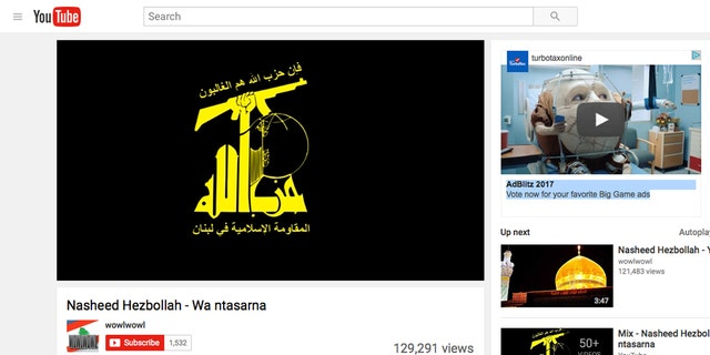 A Super Bowl ad for Turbo Tax appears at top right on a terror-linked YouTube channel.