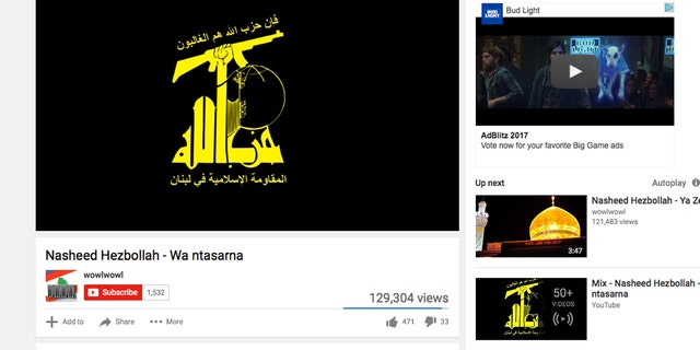 """At top right, and ad for Budweiser featuring character """"Spuds McKenzie"""" appears on a YouTube channel used to radicalize terror sympathizers."""