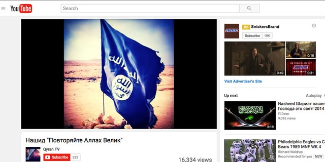 Top right, an ad for Snickers appears on a jihadist site.