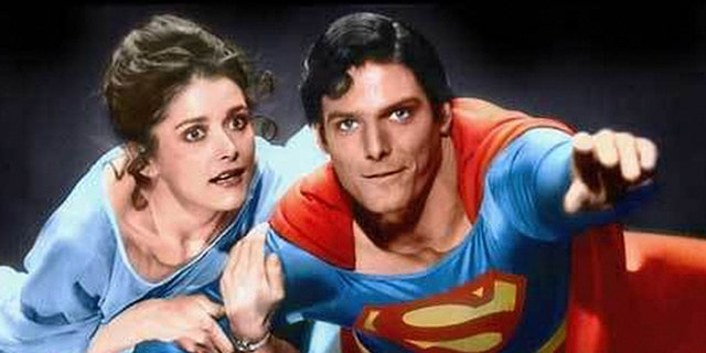 """Actress Margot Kidder shown in ascene from the 1978 movie """"Superman"""" with Christopher Reeve."""