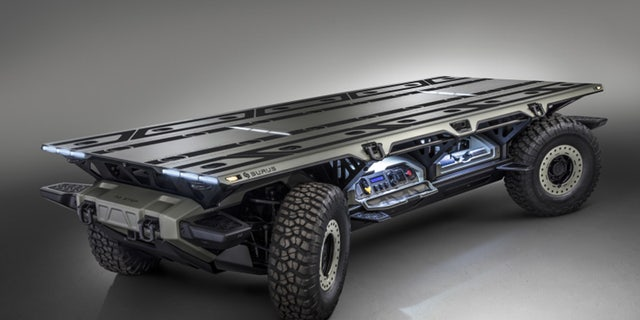 Twin hydrogen-powered drivetrains are located at each end of the vehicle.