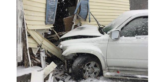 SUV driver suffered a broken leg in crash.