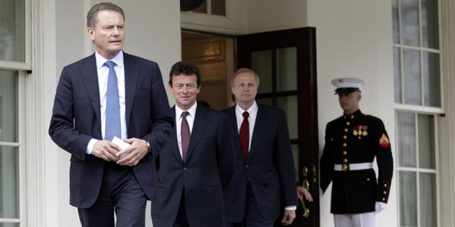 Wednesday: BP Chairman Carl-Henric Svanberg (left), CEO Tony Hayward and Managing Director Bob Dudley leave the White House after their meeting with President Obama. (Reuters)