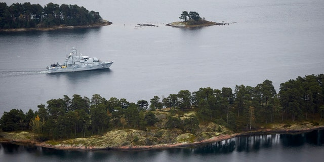 Oct. 19 2014: Swedish Navy  minesweeper HMS Koster patrols in the Stockholm Archipelago, Sweden