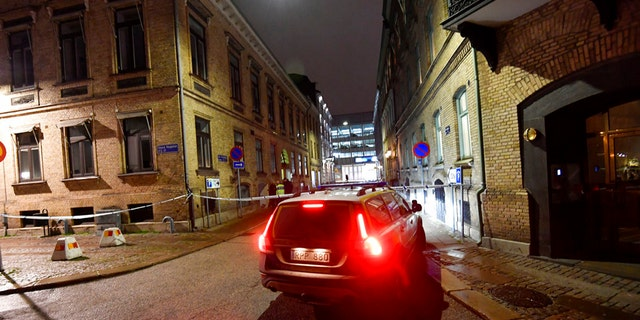 A view of a site where a synagogue was attacked in Gothenburg, Sweden, late Saturday Dec. 9, 2017.