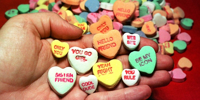 The New England Candy Co. also manufactures Sweethearts candies.