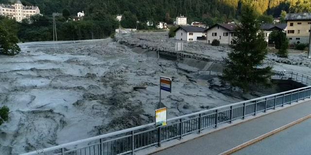 Still image taken from video shows the remote village of Bondo in Switzerland, August 23, 2017 after a landslide struck it