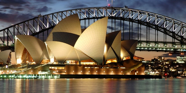 Sydney Opera House with Harbour Bridge at night detail