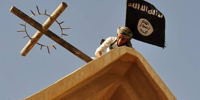 ISIS fighters have taken over Christian churches in northern Syria, replacing the cross with their black flag.
