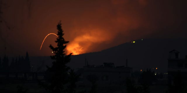 Fire and explosions are seen in Syria in the Mountain 47 region.