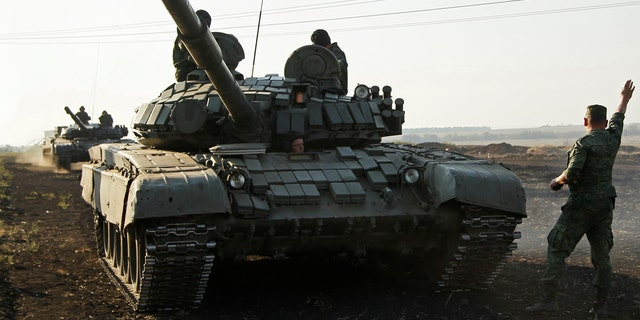 A Russian-made T-72 battle tank similar to the one destroyed Tuesday.