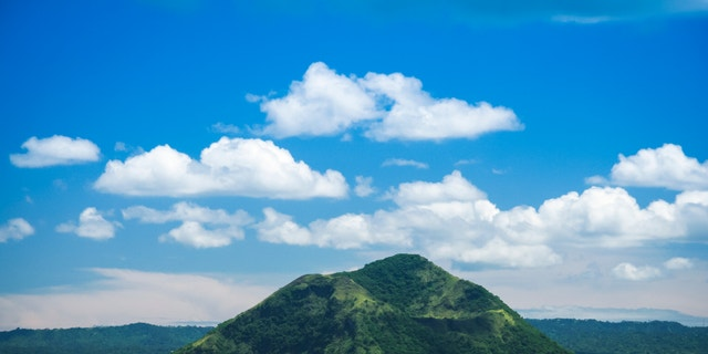 active taal volcano inside bigger crater lake near tagaytay in the philippines