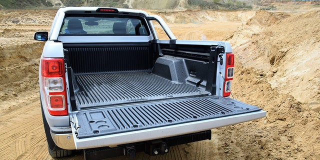 Pultusk, Poland - 25th April, 2016: Empty cargo bed in Ford Ranger pick-up. Good protection of products in cargo area is the responsibility of the driver.
