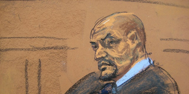 A sketch of Tairod Pugh in court.