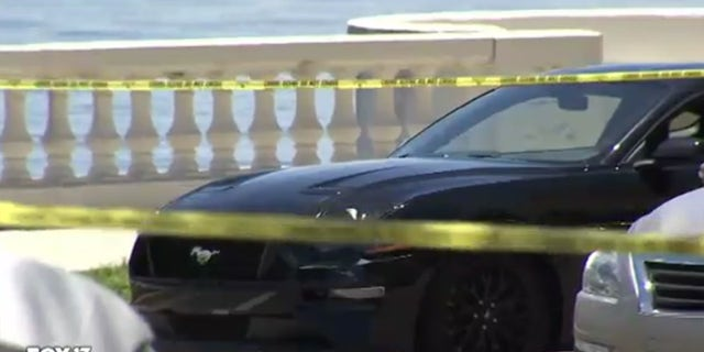 Damage from the collision can be seen on the front fender of Herrin's Ford Mustang.