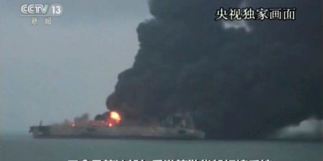 """Nearly three dozen crew members were reported missing after the Panama-registered tanker """"Sanchi"""" caught fire."""