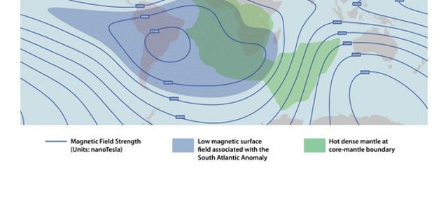 This depicts the lower strength of the Earth's protective magnetic field over the Southern Atlantic Anomaly, overlaid with the hot, dense mantle rock of an underlying feature deep below. John Tarduno and other researchers think the irregularity