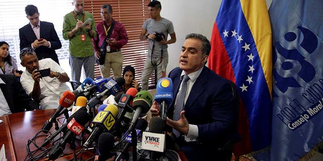 Venezuela's ombudsman Tarek William Saab during a news conference in Caracas, April 3, 2017.