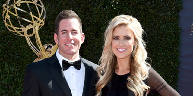 Tarek El Moussa, left and Christina El Moussa arrive at the 44th annual Daytime Emmy Awards at the Pasadena Civic Center on Sunday, April 30, 2017, in Pasadena, Calif.