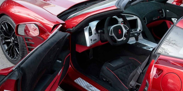 The interior has been dressed up with metal trim on the dashboard and diamond-quilt upholstery.
