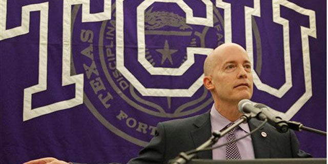 Feb. 15, 2012: Texas Christian University Chancellor Victor Boschini gestures during a news conference in Fort Worth, Texas.