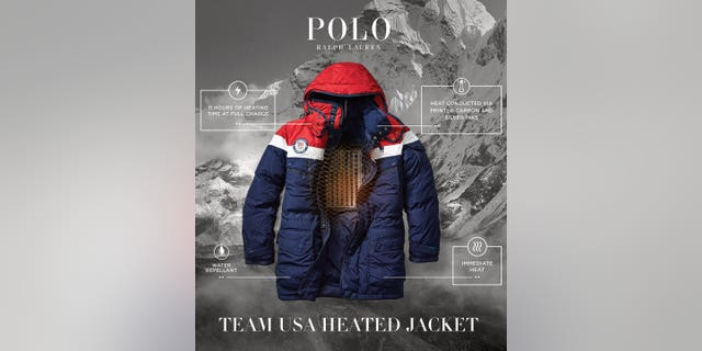 "The heating element is ""made from electronic printed conductive inks, printed into the shape of an American flag in carbon and silver ink,"" and bonded to the inside of the team's opening ceremony parkas and closing ceremony bomber jackets, according to Ralph Lauren."