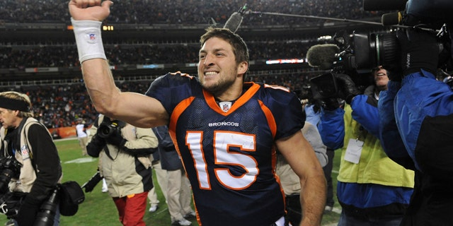 Jan. 8, 2012: Denver Broncos quarterback Tim Tebow (15) celebrates after beating the Pittsburgh Steelers 29-23 in overtime of an NFL wild card playoff football game in Denver.