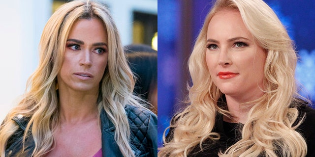 """Teddi Mellencamp (left) and Meghan McCain (right) have been feuding since McCain called the """"Real Housewife"""" star """"boring"""" in a February interview"""