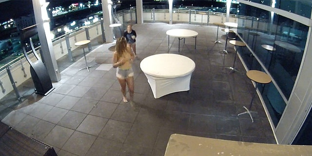 Two of the three teens were caught on video running away after hanging out on the restaurant roof.