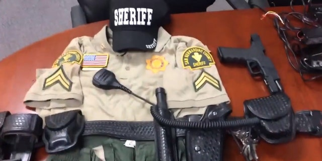 Items authorities found belonging to a 14-year-old who impersonated a police officer in Southern California.