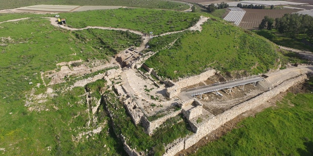 The gate structure, seen to the left, exposed at Tel Lachish National Park.