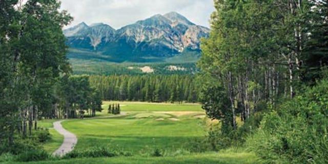 The Fairmont Jasper Park Golf Club #9 View from the tee Jasper Park, Alberta Canada