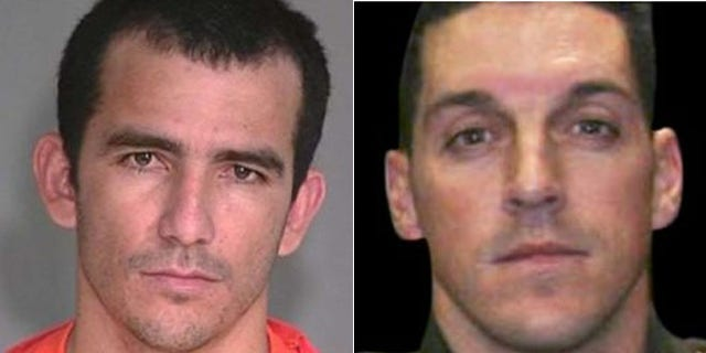 From the left, FBI mugshot of Ivan Soto-Barraza who has been arrested in Mexico in connection with the 2010 murder of US Border Patrol agent Brian Terry. (FBI)     Right: Undated FILE photo provided by U.S. Customs and Border Protection of U.S. Border Patrol agent Brian A. Terry. Terry was fatally shot north of the Arizona-Mexico border while trying to catch bandits who target illegal immigrants in December, 2010.