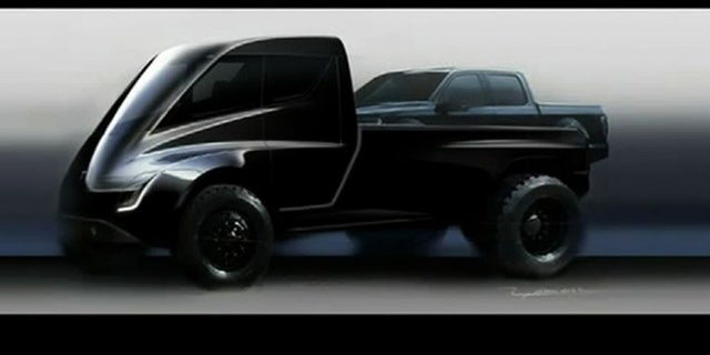 Tesla hasn't revealed what its pickup will look like, but has revealed a humorous image of one large enough to carry a Ford F-150 in its bed.