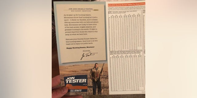 """As we gear up for hunting season, Montanans know that hunting isn't just a sport – it feeds our families, and it creates lifelong memories with our kids and grandkids,"" Tester says in the campaign flier."