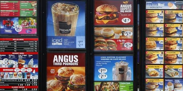 A McDonald's drive-thru menu.