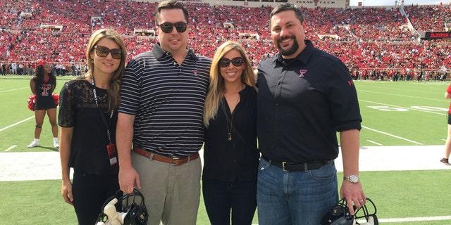 Tracy Sellers, John Sellers, Tara Campbell, and Cody Campbell at a Texas Tech football game