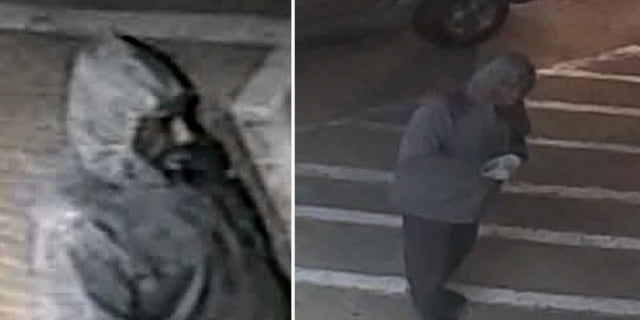 The suspect in the carjacking of a Vietnam War veteran as seen in surveillance video from a Texas gas station released by police.