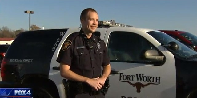 "Forth Worth Police Officer Bradley Klingberg said it was nice to be able to ""have something just good happen."""