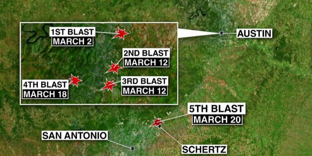 A map shows the location of each the bombings in Austin.