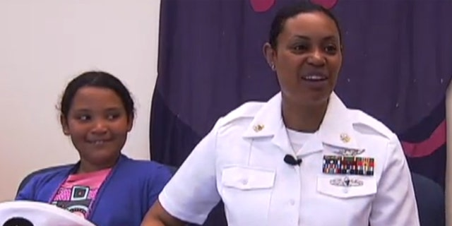 Navy Chief Petty Officer Marqueta Grant surprised her third grade daughter at her elementary school in Texas.