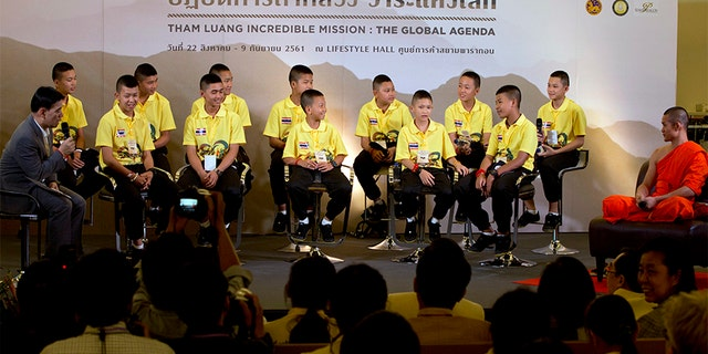 Members of the soccer team attended a public discussion in Bangkok, Thailand on Thursday.