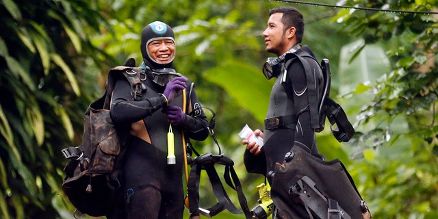 Two Thai divers speak after the boys were found; Rescuers have been able to lay a guideline down so that others could follow them and help deliver essential supplies to the group