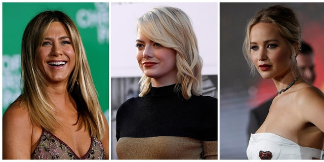 A combination photo shows (L-R) actors Jennifer Aniston, Emma Stone and Jennifer Lawrence in Los Angeles, California U.S. in December 7, 2016, August 6, 2017 and December 14, 2016 respectively.   REUTERS/Mario Anzuoni/File Photo - RTS1C1VA