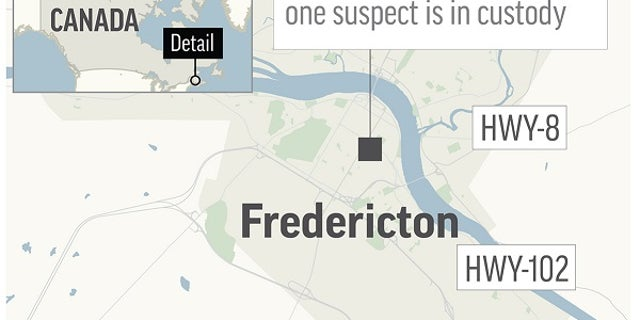 Map locates Fredericton, Canada, where a shooting left four people dead on Friday, August 10, 2018.