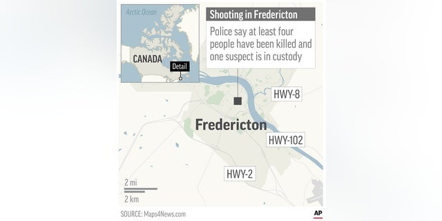 Map locates Fredericton, Canada, where a shooting has killed at least four people according to police.