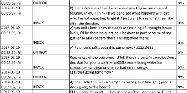 Texts between FBI officials Peter Strzok and Lisa Page on May 19, 2017.