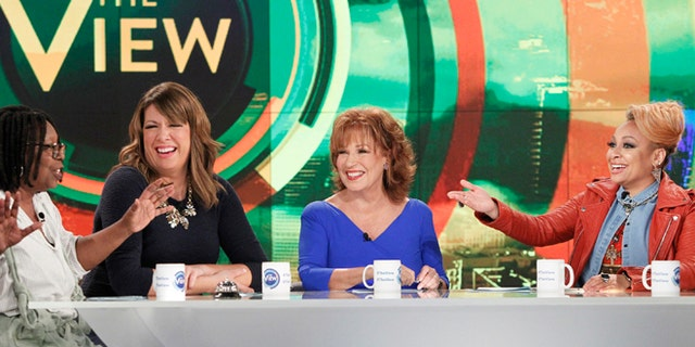 """Sept 9, 2015. From left, Whoopi Goldberg, Michelle Collins, Joy Behar and Raven-Symone appear on the daytime talk show """"The View"""" in New York."""